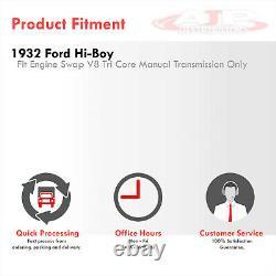 3-Row Grill Shell Aluminum Radiator For 1932 Ford Hi-Boy Hot Rod Chevy SBC V8 MT