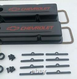 58-95 SBC Valve Cover Kit Chevrolet Steel Covers Black Small Block 327 350 383