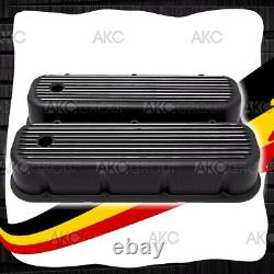 Black Finned Aluminum Tall Valve Covers For 65-95 Chevy Bb 396 427 454 502