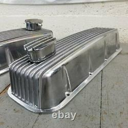 Finned Aluminum Engine Valve Covers with PCV Breathers Big Block Chevy BB 427 454