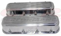 Finned Holeless Aluminum Tall Valve Covers For 65-95 Chevy BB 396 427 454 502