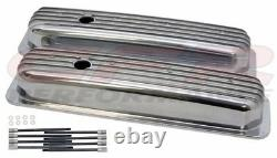 Polished Aluminum Fully Finned Short Valve Covers For 87-97 Chevy SB 5.0L 5.7L