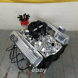 SB Chevy Chrome Finned Engine Valve Covers Breathers Small Block 327 350 1958-79