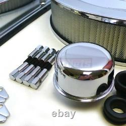 Small Block Chevy Chrome 350 Logo Engine Dress Up Kit Valve Cover SBC AirCleaner