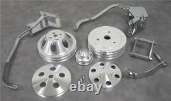 Small Block Chevy Short Pump Engine Bracket & Pulley Kit Alternator Compressor +