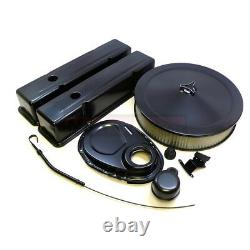 Tall SBC Small Block Chevy Black Engine Dress Up Kit Valve Cover Air Cleaner