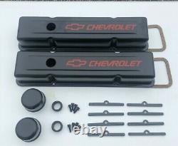 58-95 Sbc Valve Cover Kit Chevrolet Steel Couvre Black Small Block 327 350 383