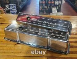 En Stock Billet Spécialités Sbc Valve Couverts Chevrolet Script Hot Rod Muscle Car