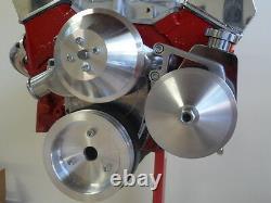 Petit Bloc Chev Poulie Kit 307 350 383 Billet Alliage Balanceur 3v Long W Pompe 2v