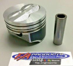 Pour Small Block Chevy 350 Engine Flat Top Coated Piston Set Silvolite 3437hc+std